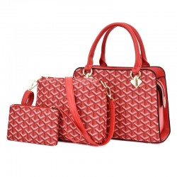 Leather handbag - crossbody - small clutch bag - geometric design - 3 pieces set