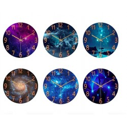 Fashionable glass wall clock - quartz - creative marble design