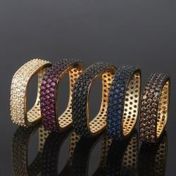 Elegant crystal square ring
