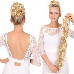 Wavy curly scrunchy - messy hair bun - with elastic band