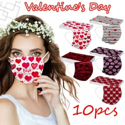 Face / mouth protective masks - 3 layers - unisex - Valentine's day / hearts - 10 pieces