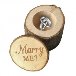 Engagement ring box - rustic wooden case - Marry Me logo