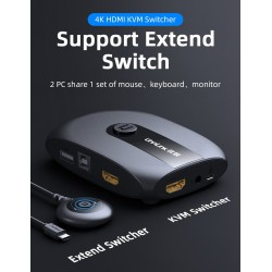 HDMI KVM switch with extender 4K - 2-4 ports - USB 2.0