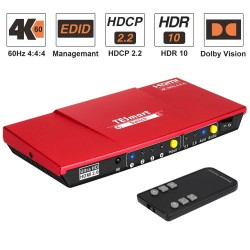 HDMI switch - 4 In 1 out - S/PDIF - L/R audio output - 4K@60Hz - with remote control