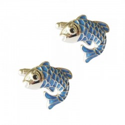 Cufflinks with blue fish - 2 pieces