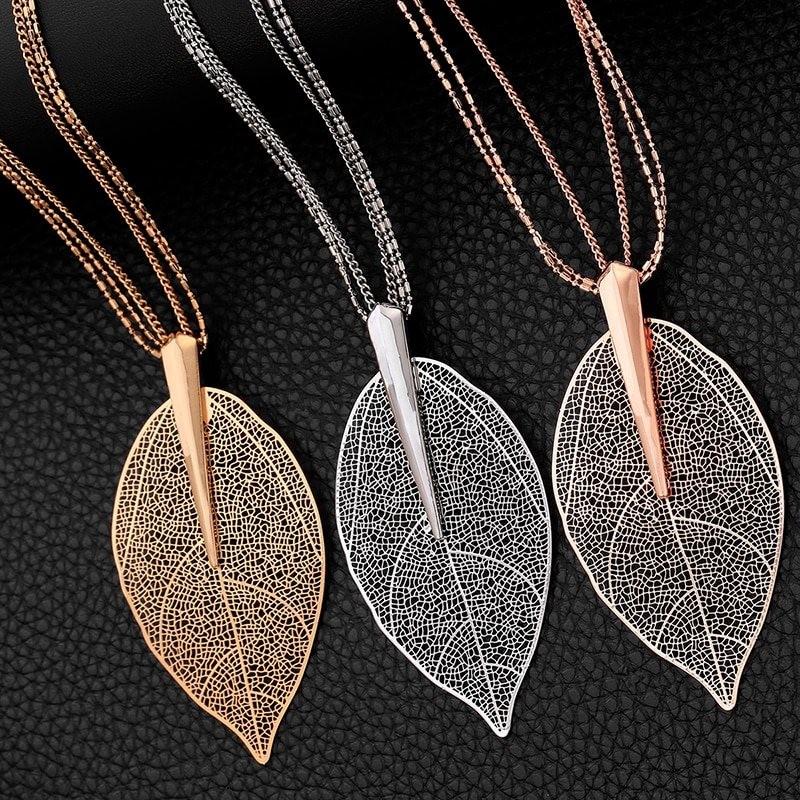 Big crystal leaf pendant - necklace