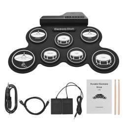 Digital electronic drum set - 7-Pad - USB roll-up silicone drum pad - with drumsticks / foot pedals
