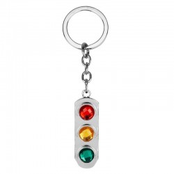 Crystal traffic lights - metal keychain