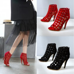 Hollow-out high heel pumps - ankle sandals - with a back zipper