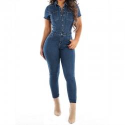 Denim jumpsuit - button up - short sleeve - slim