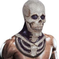 Scary skeleton mask - with chest bones piece - latex - full head