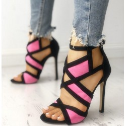 Sexy high heels - open toe - with ankle strap - crossed straps design