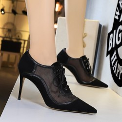 Sexy ankle high heels - lace-up - with mesh
