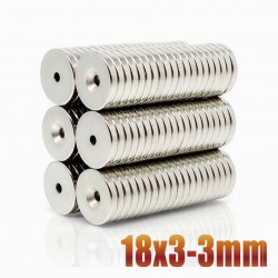 N35 Neodymium magnet cylinder - 18mm * 3mm - 3mm countersunk hole - 5 pieces