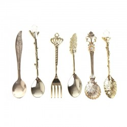 Vintage tableware set - coffee spoon - fork - ice cream / dessert spoon - 6 pieces