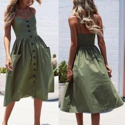 Long summer dress - sleeveless - stripes design - with buttons