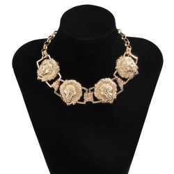 Metal necklace with a lion's heads - hip hop style - unisex