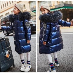 Warm thick coat for kids - with fur hood