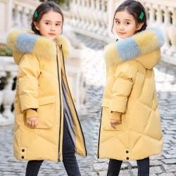 Gewatteerde katoenen lange jas - met een kleurrijke bontcapuchon - voor meisjes