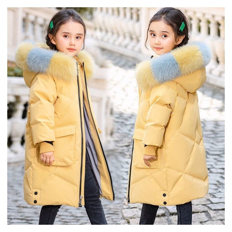 Padded cotton long jacket - with a colorful fur hood - for girls