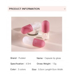 Mini capsule - lip gloss - color change under the influence of temperature - watery velvety texture