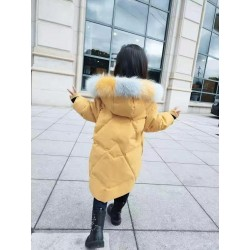 Cotton padded jacket for girls - with striped fur hood