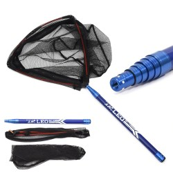 Telescopic fishing rod - extendable - with fishing net - 210cm