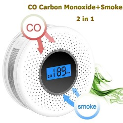 Smoke / carbon monoxide detector - with sound warning / numbers display - battery powered