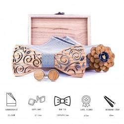 Manchetknopen - zakdoek - vlinderdas - reversbloem - nekband - houten set