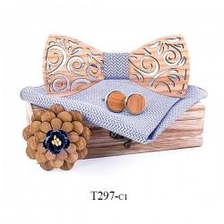 Manschettenknöpfe - Taschentuch - Fliege - Reversblume - Halsband - Holzset