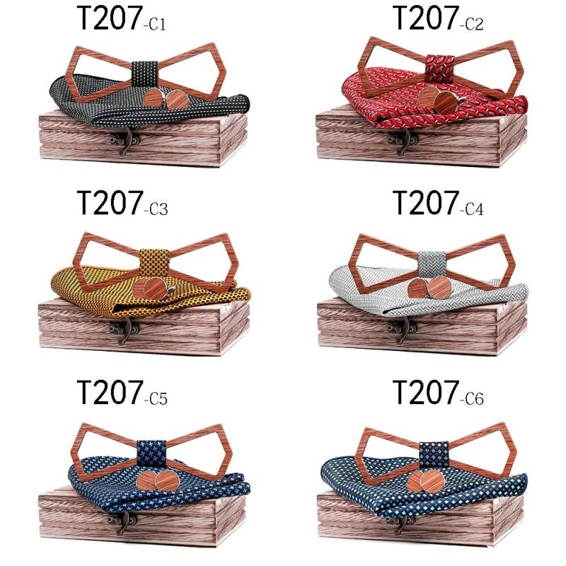 Manchetknopen - vlinderdas - zakdoek - nekband - vintage houten set