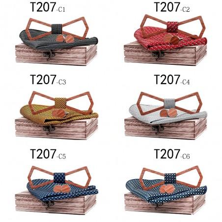 Manschettenknöpfe - Fliege - Taschentuch - Nackenbügelriemen - Vintage Holzset