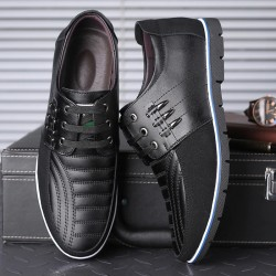 Casual leather shoes - breathable - with laces
