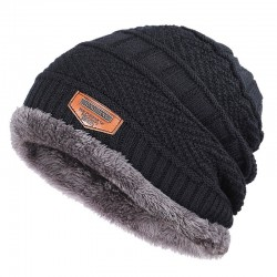 Knitted warm hat - with thick plush inside - unisex