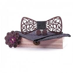 Butterfly vintage wooden neckties - with lapel flower / cufflinks / handkerchief