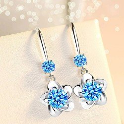 Crystal flowers - hook earrings - 925 sterling silver