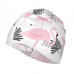 Flowers / flamingo - silicone swimming cap - long hair protection
