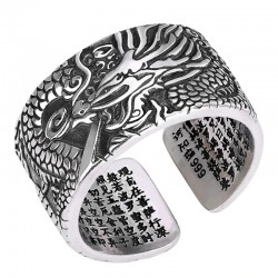 Vintage dragon ring - resizable - 990 sterling silver