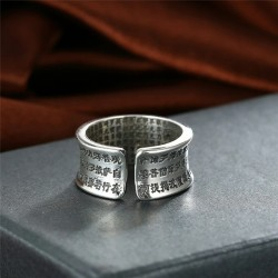Buddhism heart sutra & lotus - ring - resizable - 925 sterling silver