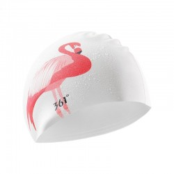 Swimming cap with flamingo - ear / long hair protection - silicone