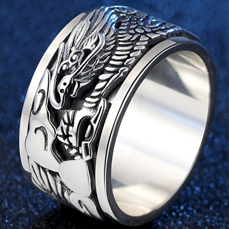 Ancient Chinese dragon ring - 925 sterling silver