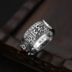 Tibetan six words proverb - ring - adjustable - 925 sterling silver