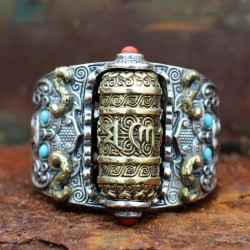 Buddhist mantra - ring - with colourful beads - resizable - 925 sterling silver