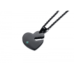 Heart & key - with crystals - necklace - unisex - for him & her