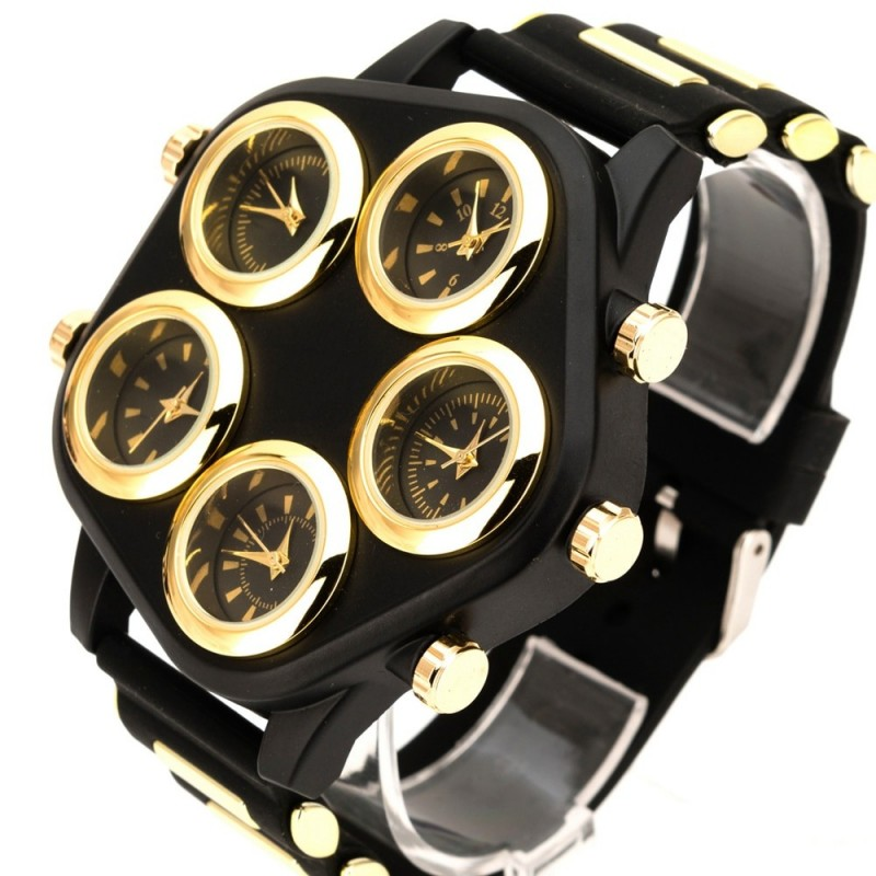 Fashionable sports watch - five time zone - large dial - silicone strap