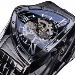 Automatic triangle watch - skeleton dial - waterproof - stainless steel