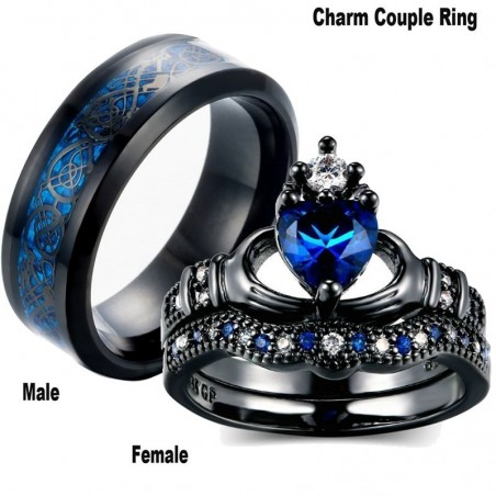 Blue zircon gems - ring for couples - for her / for him