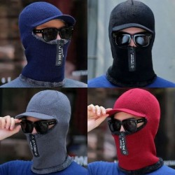 Winter knitted hat with a visor - face protection - balaclava with a zipper