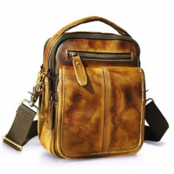 Leather shoulder / crossbody bag - with zippers / pockets