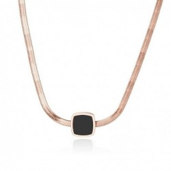 Rose gold necklace - thick snake chain - with a black pendant